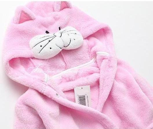 Pink Cat flannel kids bathrobe nightgown - Just Kidding Store