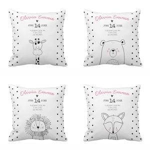 Personalised Baby Birth Stats Cushion Cover