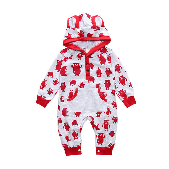 Forest Friends Romper Baby Trendy Hooded Rompers - Just Kidding Store