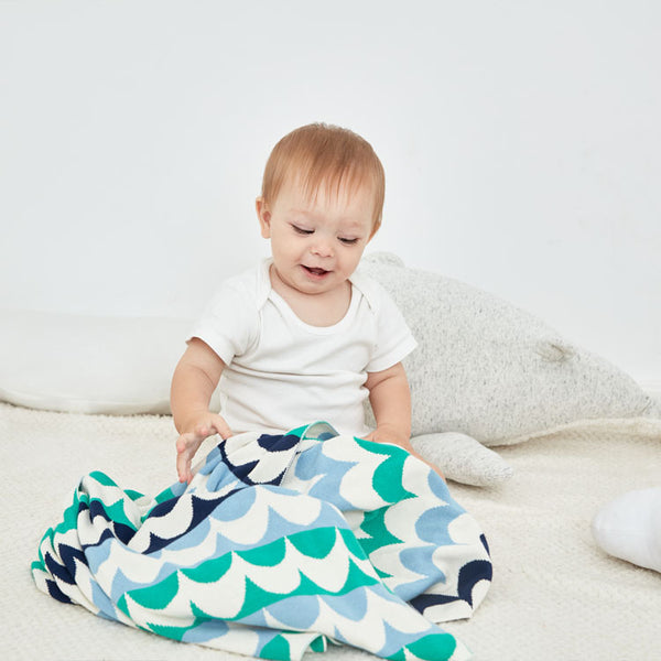 Sea Waves Baby Kids Multicoloured Cotton Knitted Blanket - Just Kidding Store