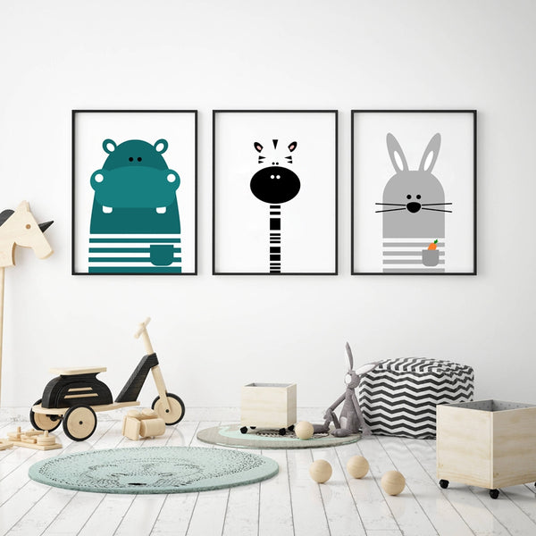 Animal Print Zebra Hippo Bunny Canvas Paintings - Just Kidding Store