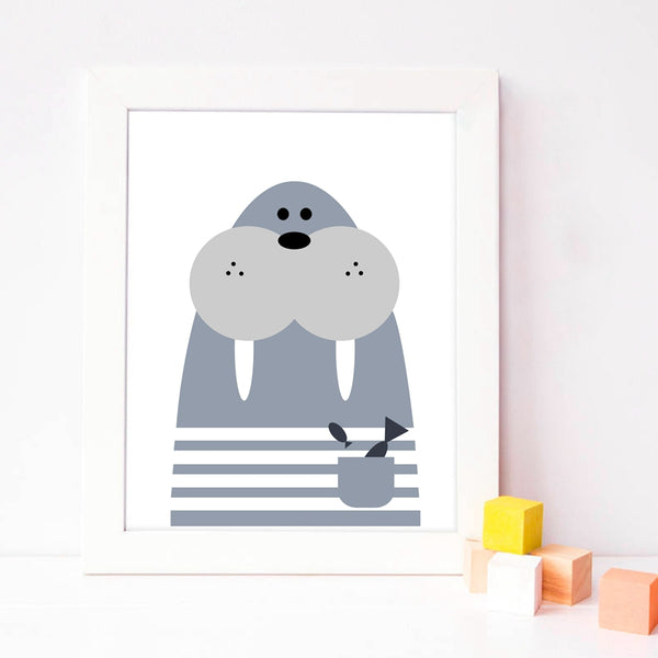 Animal Print Walrus Canvas Paintings - Just Kidding Store