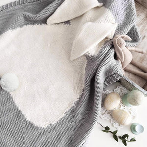 Soft Knitted Cute Gray Rabbit Baby Kids Blanket - Just Kidding Store