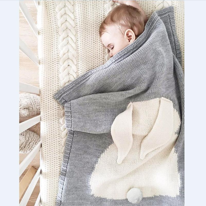 2c000d2053b Soft Knitted Cute Gray Rabbit Baby Kids Blanket - Just Kidding Store