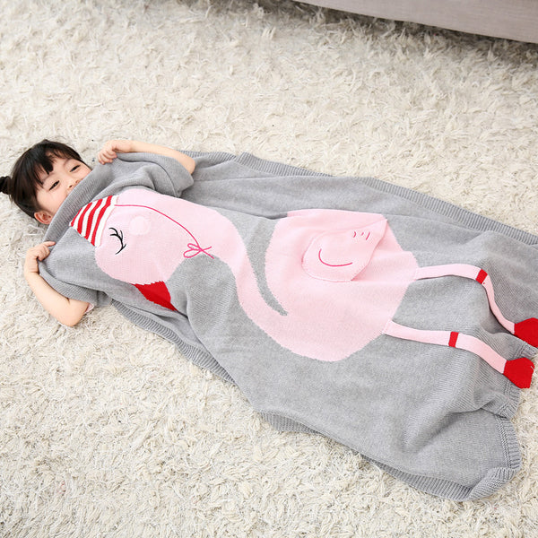 Cotton Knitted Flamingo Baby and Kids Blanket - Just Kidding Store