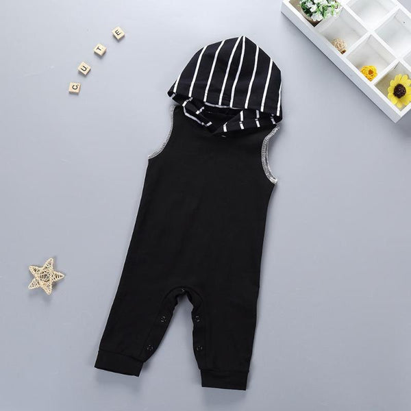 Stripy Hooded Baby and Toddler Trendy Romper - Just Kidding Store