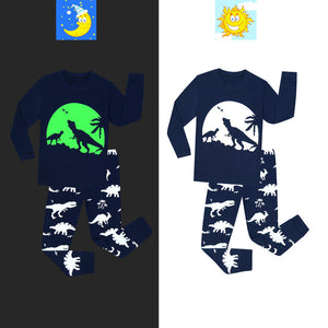 Glow in The Dark Dinosaur, Spaceman, Snowflake Pajama Just Kidding Store