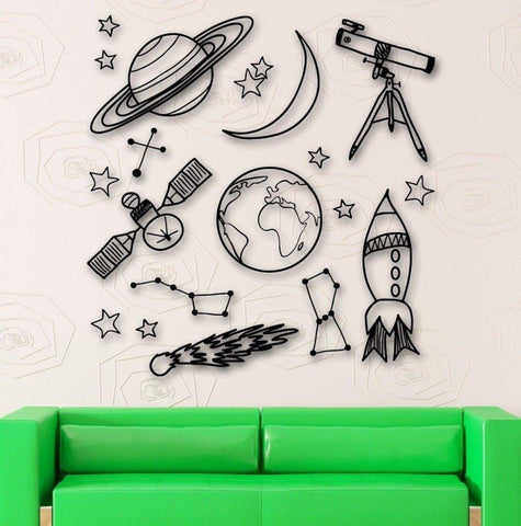 Space Mix Wall Decals - Kids Room Wall Stickers - Just Kidding Store