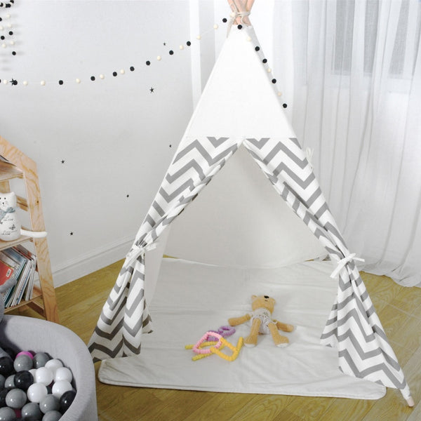 Chevron Stripes Teepee  Gray White Kids Play Tent - Just Kidding Store