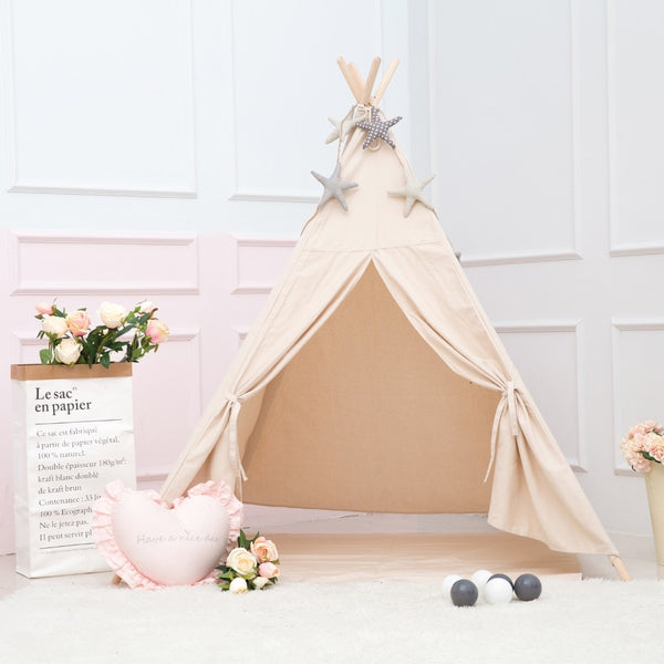Beige Four Poles Teepee Kids Indian Play Tent Tipi- Just Kidding Store