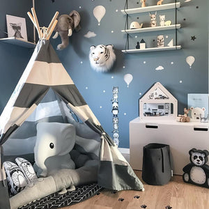 Grey Stripe Kids Teepee with Mat - Children Tipi Playhouse