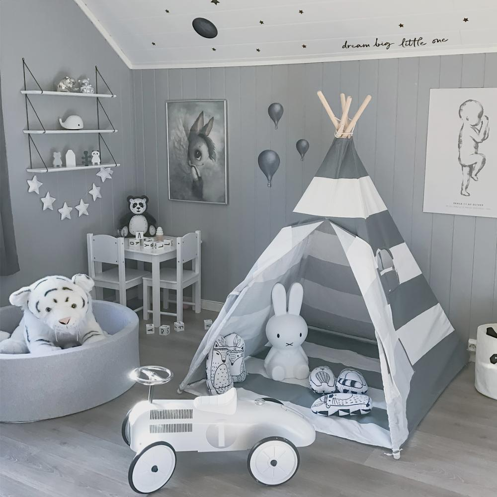 Grey Stripe Teepee with Mat - Kids Tipi Playhouse