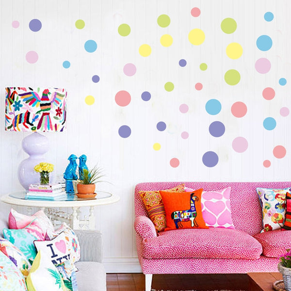 Pastel Polka Dots Wall Decal Colorful Wall Stickers Just Kidding Store