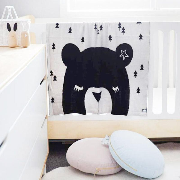White Bear Double Sided Cotton Blanket - Just Kidding Store