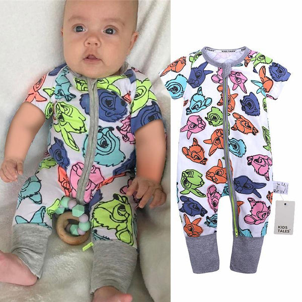 Forest Friends Summer Baby and Toddlers Romper - Just Kidding Store
