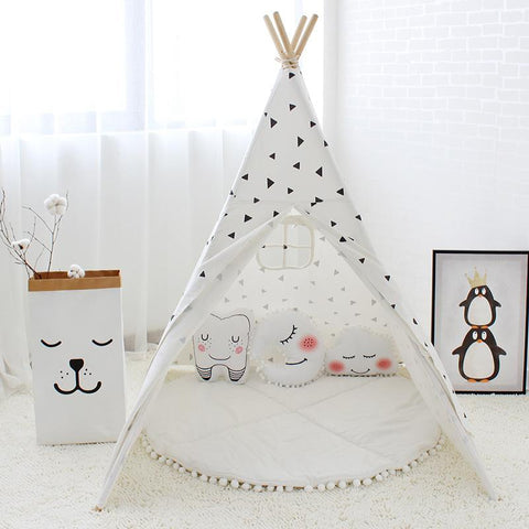 Black Triangle Teepee - Four Poles Kids Tent - Just Kidding Store
