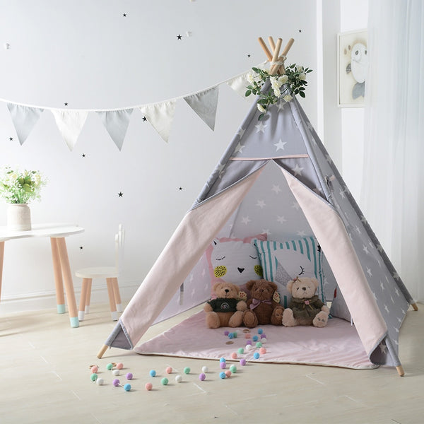 All Over Stars Teepee Gray Pink Kids Tipi Play Tent Just Kidding Store