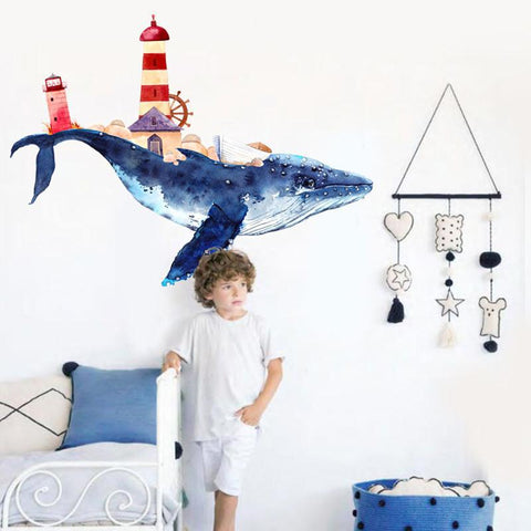 Big Blue Whale Wall Decal - Just Kidding Store