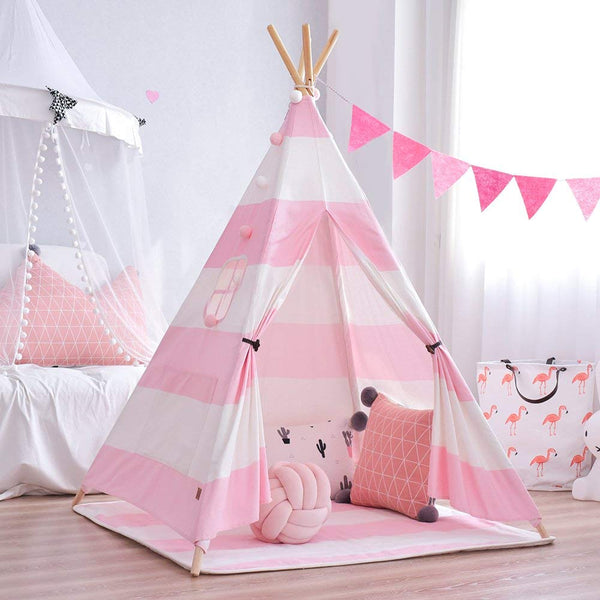 Pink Striped Teepee - Kids Indian Play Tent - Just Kidding Store