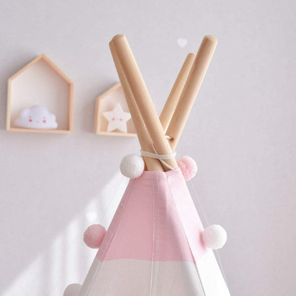 Pink Striped Teepee - Kids Play Tent