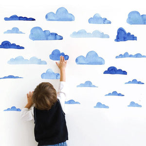 Blue Watercolour Clouds Wall Stickers - Just Kidding Store