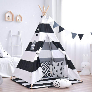 Black Striped Teepee - Kids Play Tent - Just Kidding Store