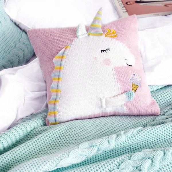 Get Enchanted Unicorn Pillow - Blue, Violet, Red Green