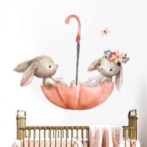 Floating Rabbits Decal - Watercolor Wall Sticker - Just Kidding Store