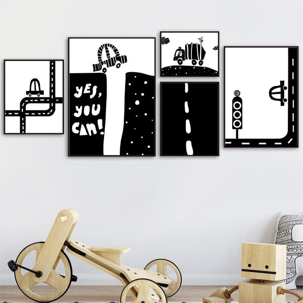 Black White Road Canvas Wall Art Nordic Wall Art - Just Kidding Store