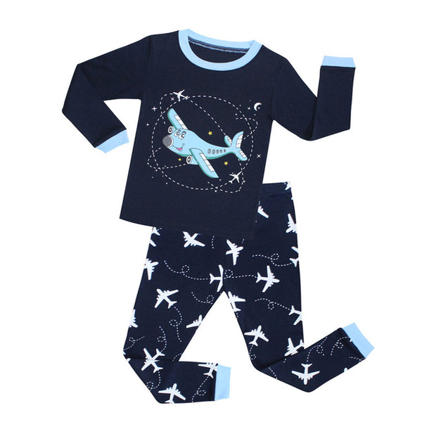 Blue Plane Sleepwear Set - Kids Pajamas - Just Kidding Store