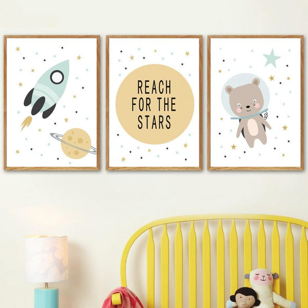 Nordic Style Kids Posters Bear, Rocket, Reach For The Stars - Just Kidding Store