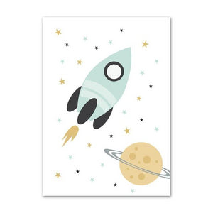 Nordic Style Kids Posters - Bear, Rocket, Reach For The Stars
