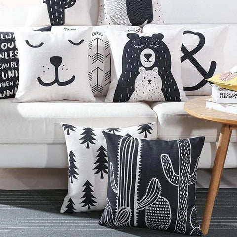Nordic Style Cushion Covers - Cactus, Bear, Pine Tree, Arrow - Just Kidding Store