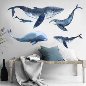Deep Ocean Whales Decal - Watercolor Wall Sticker - Just Kidding Store