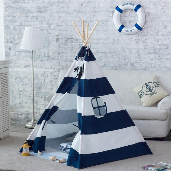 Navy Stripe Canvas Kids Teepee Children Play Tent - Just Kidding Store