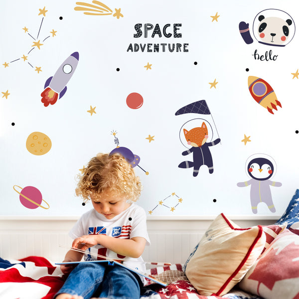 Space Adventure Wall Stickers Space Kids Room Decal Just Kidding Store