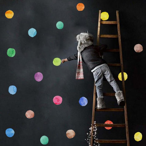 Watercolor Dot Wall Decal Colorful Wall Stickers - Just Kidding Store