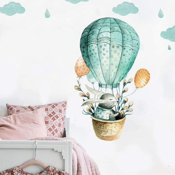 Hot Air Balloon Decal - Watercolor Wall Sticker - Just Kidding Store