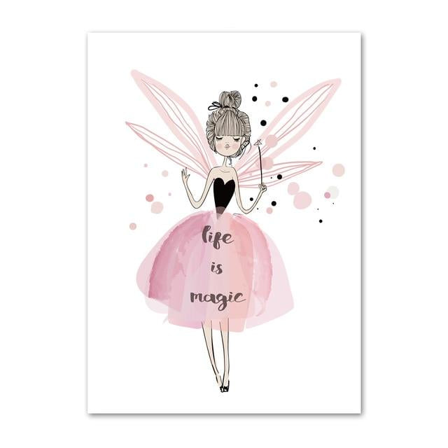 Canvas Wall Art Good Night Little Girl, Life Is Magic Just Kidding Store