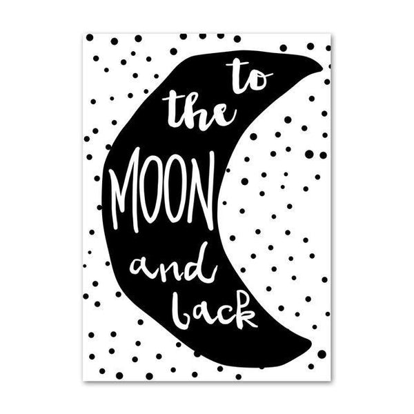 Nordic Canvas Wall Art To The Moon And Back - Just Kidding Store