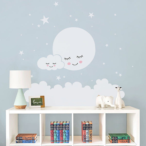 Sleepy Moon Cloud Stars Nursery Wall Decal  - Just Kidding Store