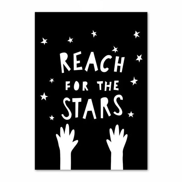 Reach for The Stars Inspiring Monochrome Canvas Paint - Just Kidding Store