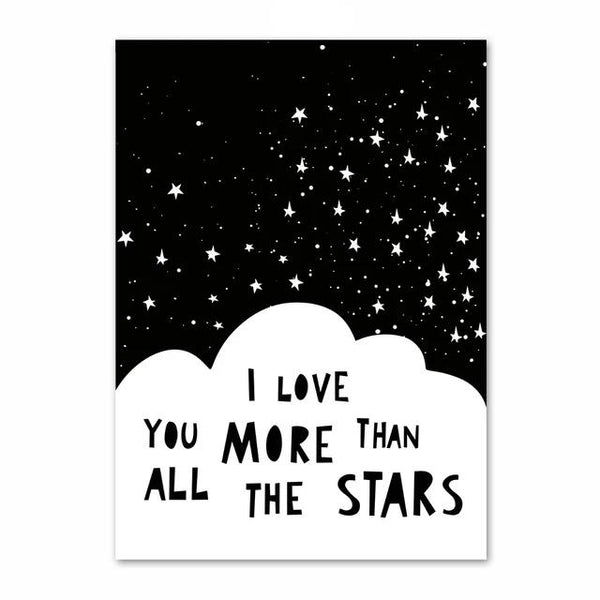I Love you more than all the sars - Inspiring Monochrome Canvas Paint - Just Kidding Store