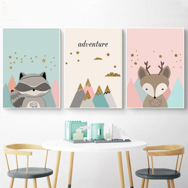 High Peak Mountains Canvas Woodland Nursery Wall Art - Just Kidding Store