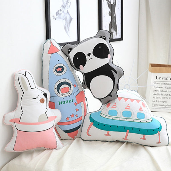 Nordic Style Kids Cushions - Panda, Spaceship, Feather, Bear, Rabbit, Tent
