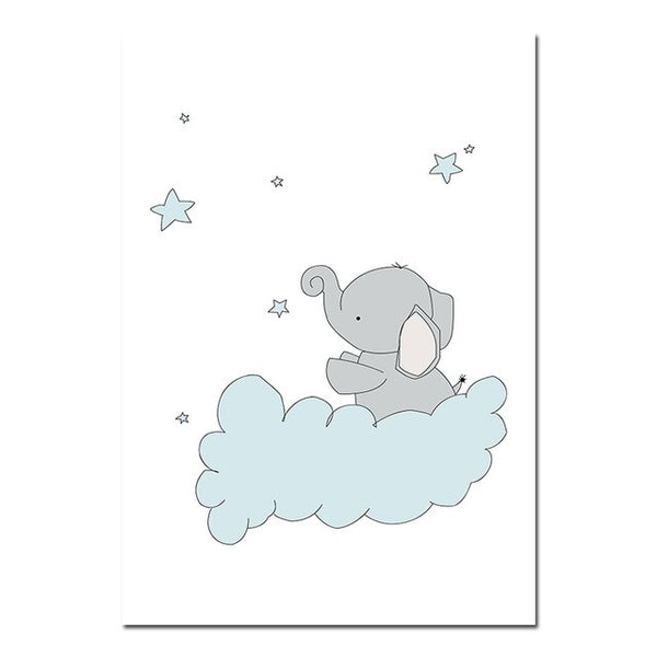 Dreamy Elephant Canvas Wall Art - Nursery Posters - Just Kidding Store