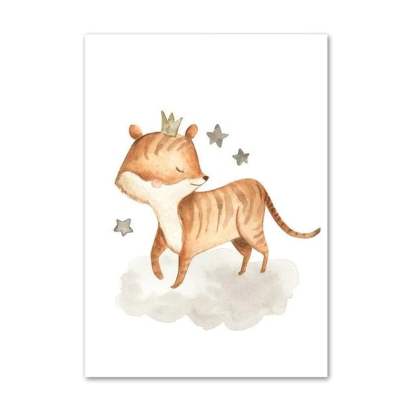 Wild Animals Canvas Paintings - Zebra, Rhino, Tiger, Elephant, Lion - Just Kidding Store
