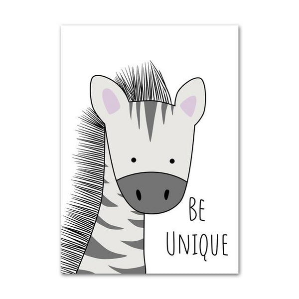 Kids Canvas Wall Art - Zebra, Hippo, Giraffe, Lion, Crocodile, Monkey - Just Kidding Store