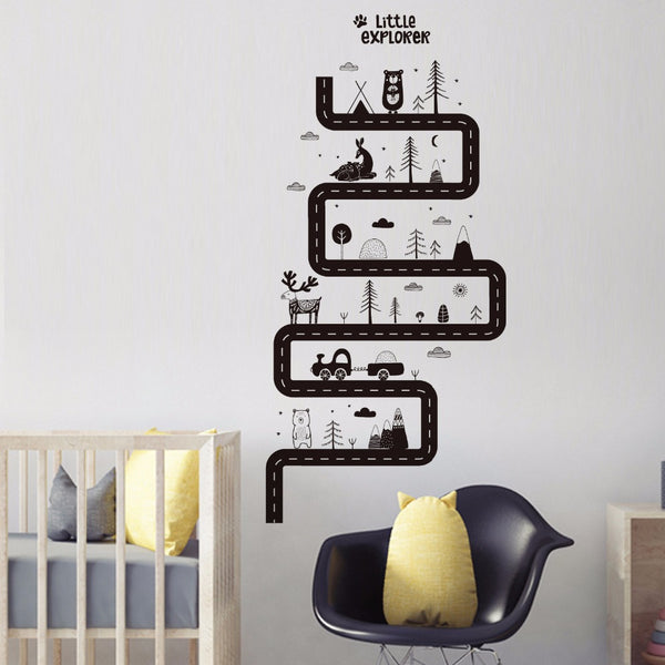 Curved Forest Road Wall Decal Little Explorer Wall Sticker Just Kidding