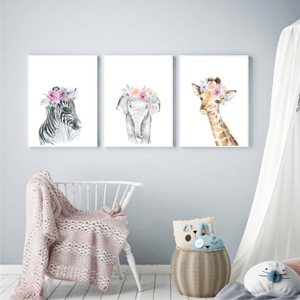 Watercolor Wild Animals Canvas Art - Giraffe, Elephant, Lion, Zebra - Just Kidding Store